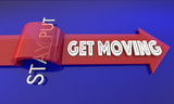 Get Moving Vs Stay Put Active Movement Arrow 3d Illustration - 182499267