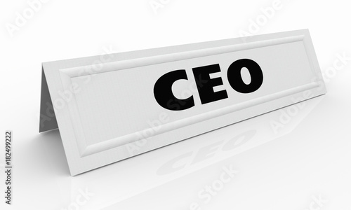 CEO Chief Executive Officer Name Tent Card Meeting Speaker 3d Illustration