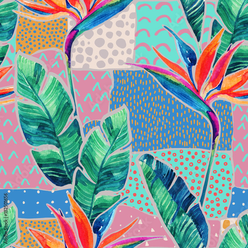 Watercolor tropical flowers on geometric background with doodles. - 182501656