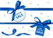 Decorative horizontal blue ribbon with bow and sale tag for winter holiday sale design. Vector decoration and label