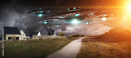 Fotobehang UFO UFO invasion on planet earth landascape 3D rendering