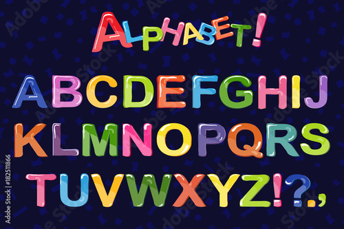Fototapeta Bubble cartoon of fonts . Colorful 3d jelly alphabet for kids. Isolated. Vector