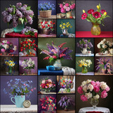 Flowers in a vase. Collage of spring flowers. - 182515277