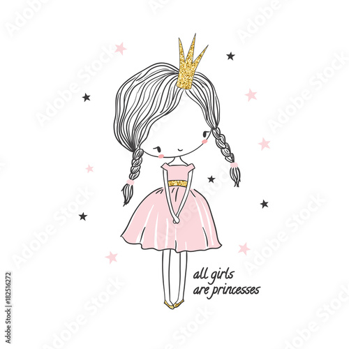 Fototapeta Cute little princess girl. Fashion illustration for kids