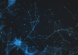 Abstract polygonal dark blue space low poly background - 182516894