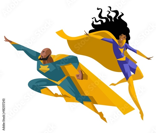 superhero man and woman flying - 182517243