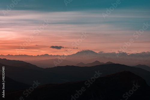Fotobehang Zwart Switzerland sunset and landscape