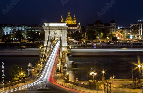 Poster Nacht snelweg Chain Bridge - Budapest