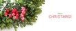 New year green wreath isolated on white background (banner with text) - 182521627