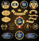 Golden badges and labels with golden ribbon vector collection - 182522226