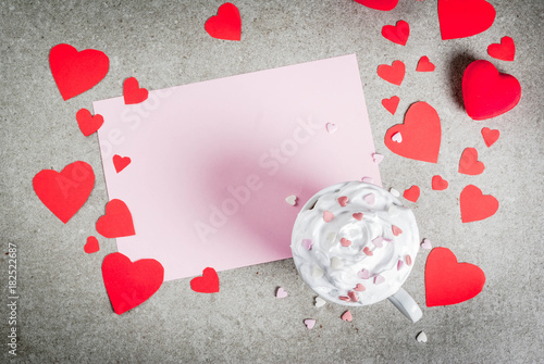 Foto op Canvas Chocolade Romantic background, Valentine's day. Stone table with blank paper for letter, congratulations, hot chocolate with whipped cream and sweet hearts, decorated with paper red hearts, top view copy space