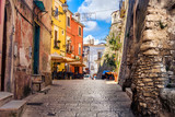 colorful south italy village alley in Apulia in the town of Vico del Gargano - 182523249