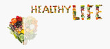 Fruits and vegetables are heart healthy. Heart of vegetables and fruits. The concept of healthy, fresh food