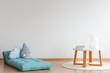 Blue mattress in baby's room