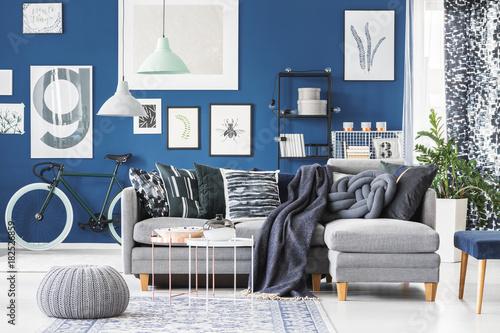 Grey corner couch in interior