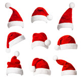 Collage with different shapes of Santa Claus helper hat - 182527611