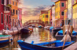 Quadro Burano island in Venice Italy picturesque sunset over canal