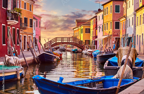 Burano island in Venice Italy picturesque sunset over canal