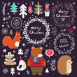 Colored illustration with decorative elements and animals in Scandinavian style on the dark background