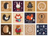 Tagged illustration with cute animals and Christmas elements - 182528271