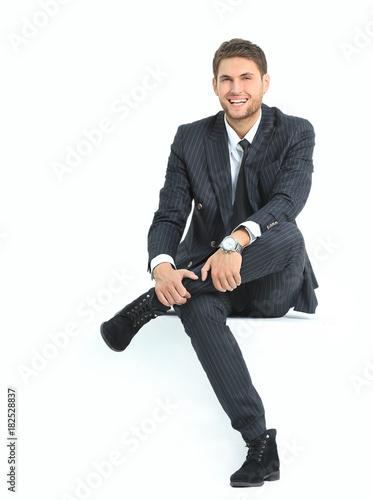 Plakát portrait relaxed businessman sitting