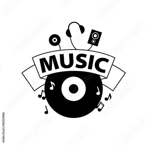 Fotobehang Muziek vector logo music