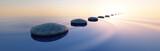 Steine im See bei Sonnenaufgang Querformat 3:1 - 182530897