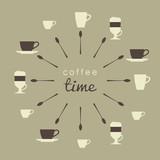 Coffee cups. Latte, cappuccino, espresso, Irish coffee. Vector illustration.