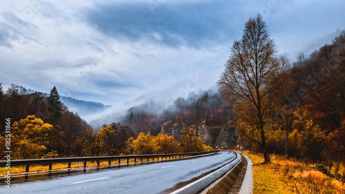 Foto op Aluminium Blauwe hemel autumn landscape with fog