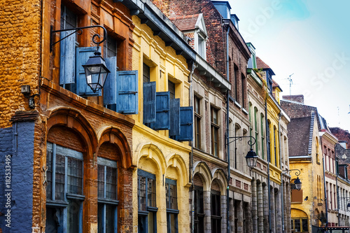 Fototapeta antique building view in Old Town Lille, France