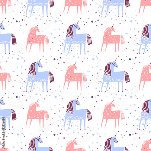Materiał do szycia Unicorn. Seamless texture with cute fairytale characters. Colored Vector illustration.