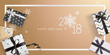 Elegant New Years greeting card. Vector illustration concept for greeting cards, web banner, flayer brochure, party invitation card. - 182537008