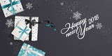 Modern New Year 2018 greeting card design. Vector illustration concept for greeting cards, web banner, flayer brochure, party invitation card. - 182537059