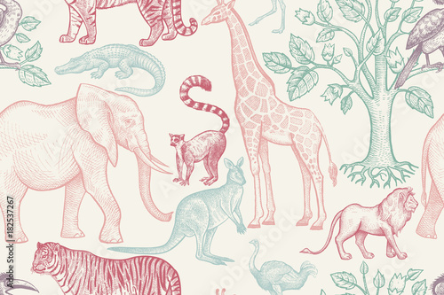 Seamless pattern with animals. - 182537267