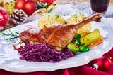 Golden roasted Xmas turkey leg and vegetables