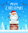 Merry Christmas! Santa Claus in the chimney. Snow scene. Winter landscape.