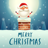 Merry Christmas! Santa Claus in the chimney under the moonlight. Snow scene. Winter landscape. - 182538205