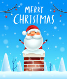 Merry Christmas! Santa Claus in the chimney. Snow scene. Winter landscape. - 182538220