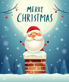 Merry Christmas! Santa Claus in the chimney under the moonlight. Snow scene. Winter landscape. - 182538258