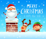 Merry Christmas! Santa Claus in the chimney. Santa Claus, Reindeer and Elf in snow scene. Winter landscape. - 182538286