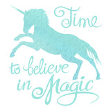 Turquoise watercolor unicorn silhouette and lettering