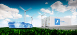 Concept of energy storage system. Renewable energy - photovoltaics, wind turbines and Li-ion battery container in fresh nature with distant blurred city in background. 3d rendering. - 182548816