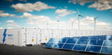 Concept of energy storage system. Renewable energy power plants - photovoltaics, wind turbine farm and  battery container. 3d rendering. - 182548860