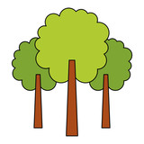green three tree foliage forest park natural vector illustration