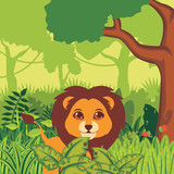Cute lion in the jungle illustration vector