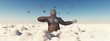 Biplanes attack a giant gorilla - 182550237