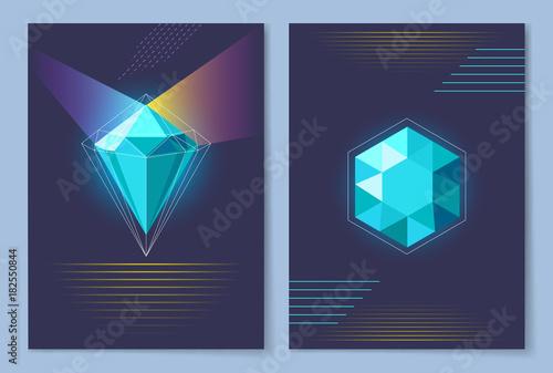 Papiers peints Echelle de hauteur Poster with Diamond of Blue Vector Illustration