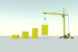 Increase business building concept crane white background 3d illustration