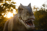 Tyrannosaurus, prehistoric era dinosaur showing his toothy mouth