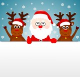 Święty Mikołaj i dwa renifery, kartka świąteczna